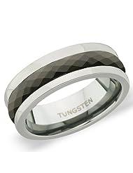 7 Mm Peora Tungsten Carbide Polished 2 Tone Multi-Faceted Men's Prism Design Band Ring (PTR758)