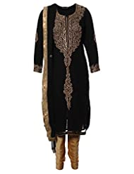 Azra Jamil Indian Georgette Black Boolean And Zardozi With Sequined Hand Work Traditional Churidar Suit For Women