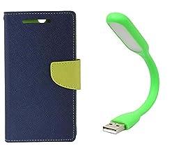 Novo Style Book Style Folio Wallet Case Samsung Galaxy S DousS7562 Blue + Mini USB LED Light Adjust Angle / bendable Portable Flexible USB Light