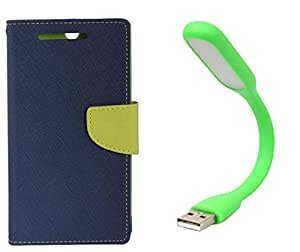 Novo Style Wallet Case Cover For HTC Desire 816 Blue + Mini USB LED Light Adjust Angle / bendable Portable Flexible USB Light