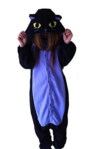 Women Men Midnight Cat Unisex Adult Animal Sleep Suit Cosplay Kigurumi Costume Pajamas Outfit Costume Nightclothes Onesies Clothing Pajamas Tracksuit