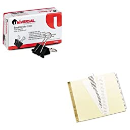KITAVE11730UNV10200 - Value Kit - Avery Gold Line Data Binder Insertable Tab Index (AVE11730) and Universal Small Binder Clips (UNV10200)