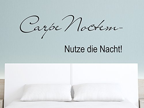 "Wall Sticker for Bedroom with Latin/German Phrase ""Carpe Noctem - Nutze die Nacht!"" (""Carpe Noctem - Seize the Night!""), light blue, 110x40cm"