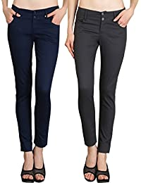 NGT Womens Formal Grey And Navy Blue Trouser In Special Quality.