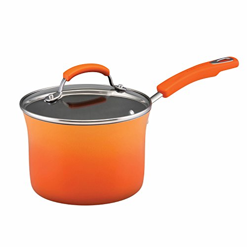 Rachael ray 14 piece hard enamel nonstick cookware set for Kitchen set orange