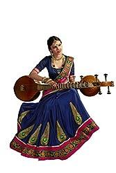 Fashionate Art Silk-Satin Blue-Pink Embroidery Saree