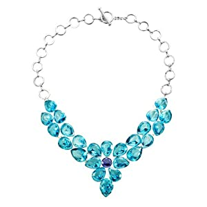 Pugster Aquamarine Blue Square Teardrop Crystal Diamond Accent Statement Pendant Choker Necklace