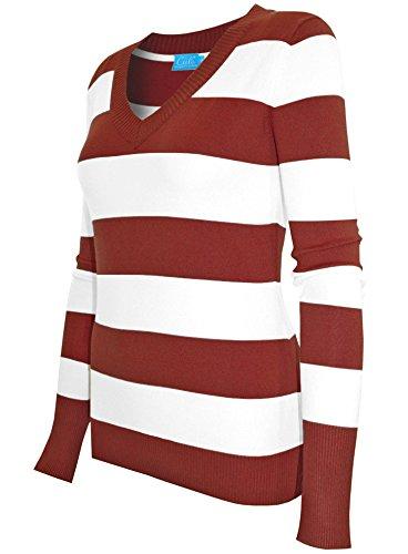 cielo-womens-v-neck-wide-stripe-pullover-casual-medium-dark-red