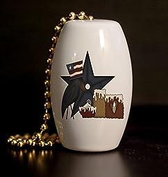 Primitive Americana Crow Porcelain Fan / Light Pull