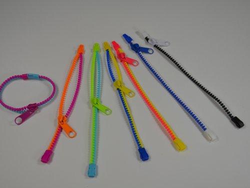 Zipper Armband Bracelet mit Reißverschluß zweifarbig mit Klippverschluß 21cm