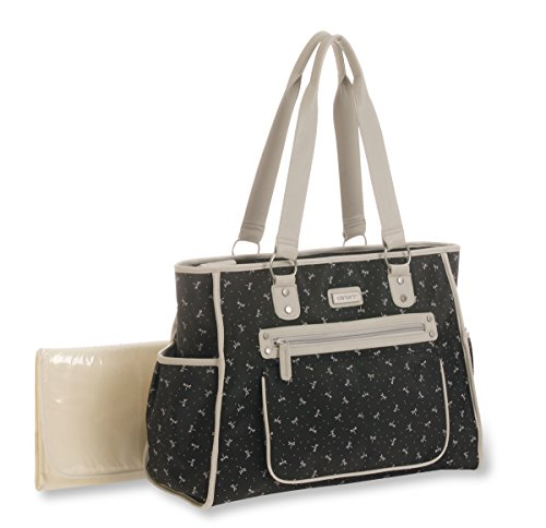 Carter's City Tote Dragonfly Print Diaper Bag, Black/White - 1