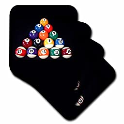3drose cst_3317_2 Billiards Balls Pool Coaster, Soft, Set of 8
