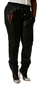 CD D C Women's Leather Sweat Pants/ Joggers Relaxed 4XL x 32 Black