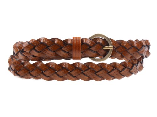 Herebuy - Designer Braided Leather Belts for Women Fashion Waist Belt (Camel)