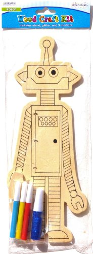 Set of 4 wood arts and crafts kit robot with markers 3 for Markers for wood crafts