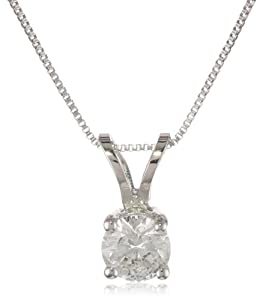 14k White Gold Round-Cut Diamond Solitaire Pendant (1/3 cttw, H-I Color, I1-12 Clarity), 18