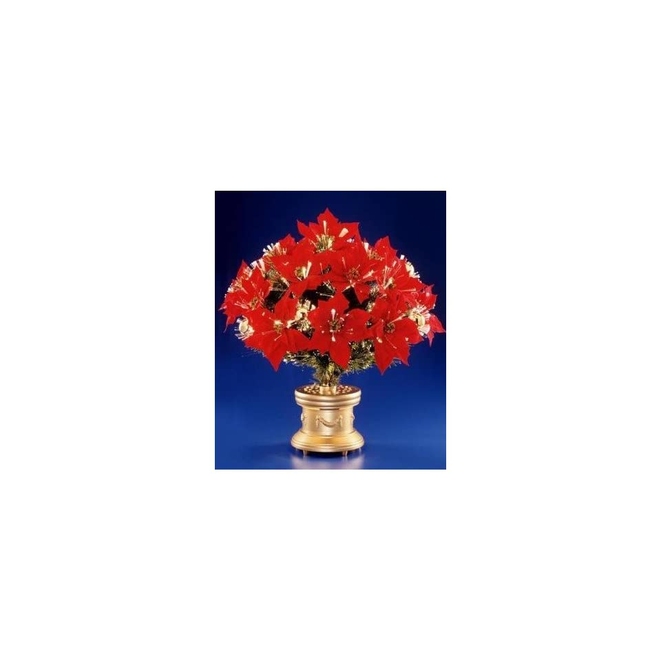 National Tree Company SZM7 119 26 26 Inch Fiber Optic 17 Head Red Poinsettia Bush with Gold Fiber Circled Ornaments and Gold Column Base   Multi Wheel