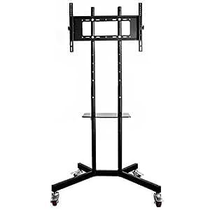oulii universal adjustable mobile metal tv stand mount bracket with locking wheels. Black Bedroom Furniture Sets. Home Design Ideas