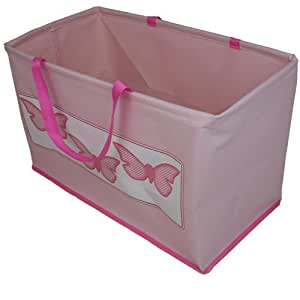 JVL Girl Child Kids Folding Toy Storage Bag with Handles Butterflies Design, Pink