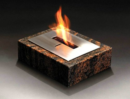 Granito - Table Top Outdoor Decorative Bio-Ethanol Fire (Brown Granite). BIOFUEL FIRE