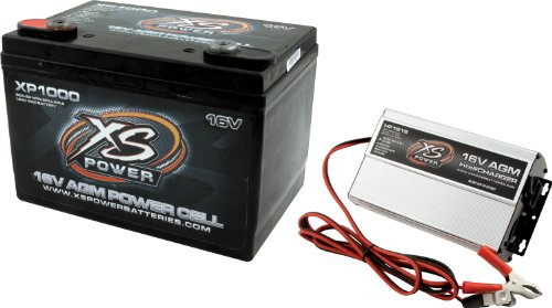 XS Power XP1000CK1 AGM Series 2400 Max Amp 675 Cranking Amp 16V Battery and Charger Combo Kit