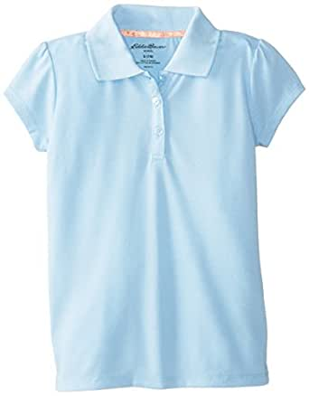 Eddie Bauer Big Girls'  Stretch Polo Top, Light Blue, Small