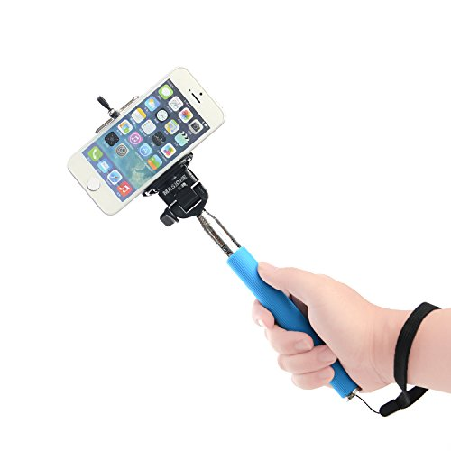 Masione™ Smartphone Iphone Extendable Extender Telescopic Handheld Monopod Holder Pole For Iphone 4/4S/5/5S Samsung Galaxy S5 S4 S3 Compact Gopro Camera -Adjustable (Blue)