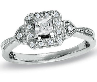 0.58 Carat Vintage Cheap Engagement Ring with Princess cut Diamond on 14K White gold