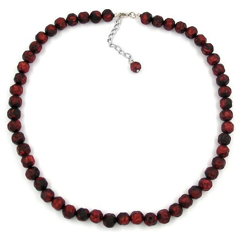 Necklace, Baroque Beads 10mm Red-Black 50cm