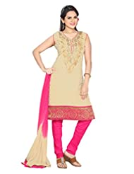 Ritu Creation Women's New Silk Stitched Straight Chudidar Suit With Neck Embroided Work