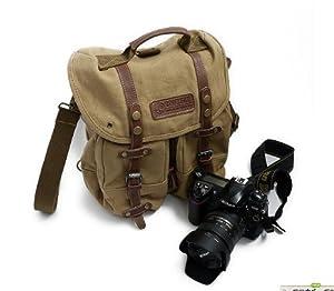 TSYT Direct Deal F1006 Canvas DSLR SLR Camera Shoulder Bag Backpack Rucksack Bag For Sony Canon Nikon Olympus Panasonic etc. ---27cm x 27cm x 12cm-Yellow Color