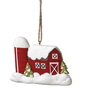Red Barn in Winter Christmas Ornament