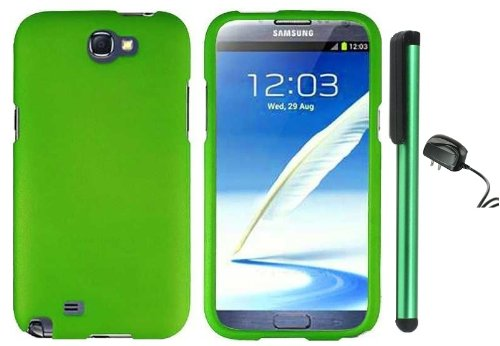 #>>  Grass Green Design Protector Hard Cover Case for Samsung Galaxy Note II N7100 (AT&T, Verizon, T-Mobile, Sprint, U.S. Cellular) Android Smart Phone + Luxmo Brand Travel (Wall) Charger + Combination 1 of New Metal Stylus Touch Screen Pen (4