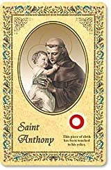 Laminated Saint Anthony 3rd Class Relic Holy Card w Prayer Printed in Italy