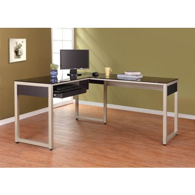Buy Low Price Comfortable Homelegance Network L-Shape Glass Top Computer Desk (B005B924OA)
