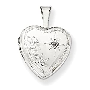 Diamond Heart Pendant in Sterling Silver - Round Brilliant Shape - Spectacular