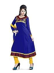 JHEENU Blue Faux Georgette Unstitched Dress Material