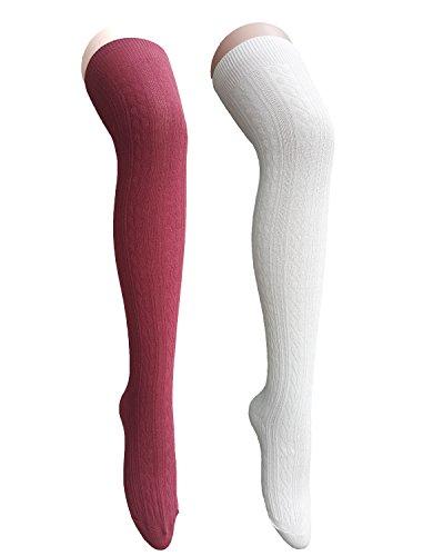 Zando donne cotone Knit spirale sopra il ginocchio coscia alta calze calze lunghe 2 Pairs White w Burgundy Taglia unica