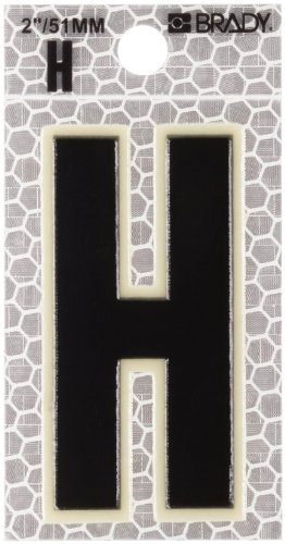 "Brady 3000-H 2-3/8"" Height, 1-1/2"" Width, B-309 High Intensity Prismatic Reflective Sheeting, Black And Silver Color Glow-In-The-Dark/Ultra Reflective Letter, Legend ""H"" (Pack Of 10)"