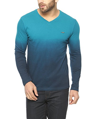 Gritstones-Turquoise-Full-Sleeve-V-Neck-T-Shirt