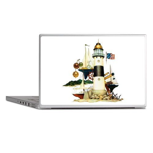 """Laptop Notebook 13"""" Skin Cover Nautical Vintage Lighthouse Telescope Steering Wheel Anchor And Ships"""