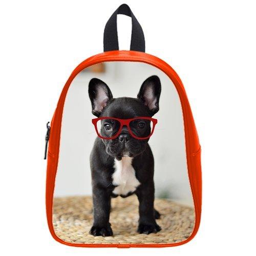 Generic Custom Black Pit Bull Dog Wearing Red Glasses Printed Red School Bag Backpack Fit Short Trip Pu Leather Medium front-230625