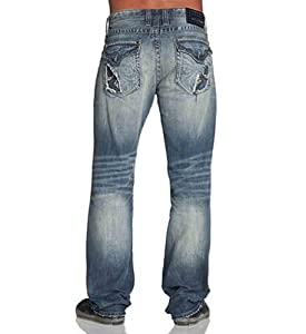 03b601ef8be2d Affliction Men s Relaxed Straight Grant Cutout Fleur Flap Pockets Jeans  Clothing