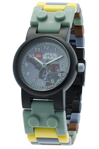 LEGO Kids' 9003363 Star Wars Boba Fett Plastic Watch with Link Bracelet and Minifigure