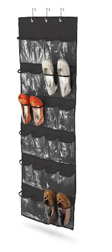 Honey-Can-Do SFT-01249 Over The Door Clear Shoe Organizer/Storage Rack, Black