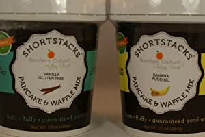 Organic and GMO Free Shortstacks Pancake and Waffle Mix (Vanilla Gluten Free and Banana Pudding)