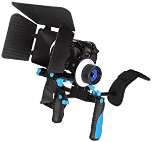 Pro Steady DSLR Complete Movie Rig with Shoulder Mount and Follow Focus System and a Matte Box Shading Card for Canon EOS Rebel T4i/T3/T3i/T2i/T1i/EOS 1D MARK III/1D MARK IV/1DS MARK II/5D/7D/20D/30D/40D/50D/60D/XS/Xsi/Xti SLR/Video Cameras