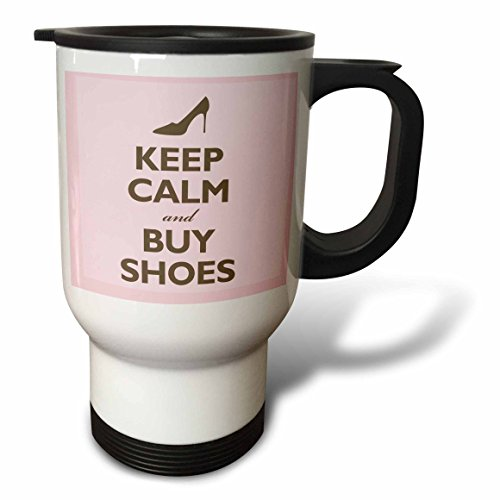 3dRose Keep Calm and Buy Shoes Pink Shopping High Heels Travel Mug, 14-Ounce (High Heel Insulated Cup compare prices)