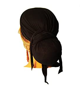 097688d4129 ShariRose Snood Head Scarf Head Scarves Tichel Black Cotton Long Wrap  Clothing