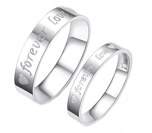 [Aeici Jewelry, Stainless Steel Wedding Rings for Couple Matching Forever Love Men Size 7 & Women Size] (Six Million Dollar Man Costume)